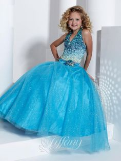 Tiffany Princess 13314 Baby Blue V Neck Sequined Pageant Dress