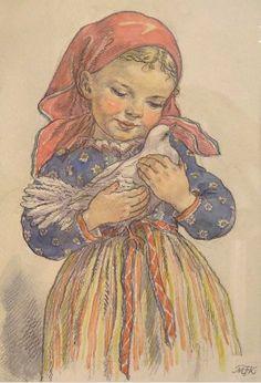 Marie Kvěchová-Fischerová Nostalgic Art, Russian Folk Art, Art Inspiration Drawing, Vintage Drawing, Children's Book Illustration, Vintage Pictures, Antique Art, Vintage Postcards, Cute Drawings