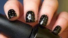 black punk nails studded #manicure #hellraiser #pinhead