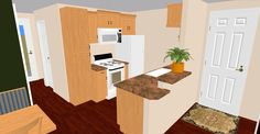 """The Kitchen in our 548 sq ft design called the """"Sherwood""""."""