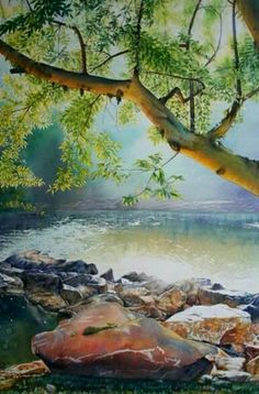 Watercolor Landscape Paintings, Watercolor Artists, Watercolor Techniques, Watercolor Illustration, Landscape Art, Water Art, Traditional Paintings, Tree Art, Scenery