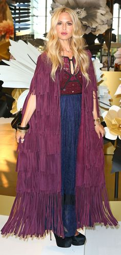 Rachel Zoe wearing a Burberry A/W15 elderberry fringe cape and dress at the Icons Of Style event in Melbourne