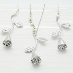 Silver rose pendant necklace and earrings set bridesmaid jewellery bridesmaid gifts bridesmaid necklace earrings and necklace set.