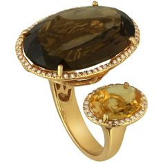 Pre-owned Smoky Quartz and Citrine Diamond Ring (7.105 BRL) ❤ liked on Polyvore featuring jewelry, rings, cocktail rings, diamond jewelry, diamond rings, pre owned jewelry, statement rings and diamond cocktail rings