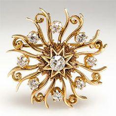Victorian Era Diamond Pendant Brooch 14K Gold Antique 1900's