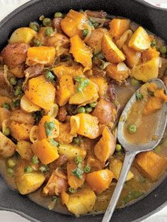 Curried Pumpkin and Peas. So good. Just the right amount of spice and sweet. I used butternut squash instead of pumpkin.