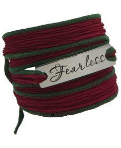 Inspirational Silk Wrap Bracelet, Fearless