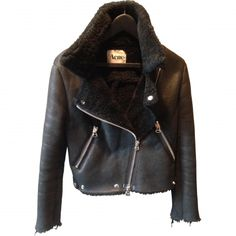 Acne sherling and leather jacket