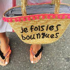 Les Boutiques French Embroidered Pink Pom-Poms Bohemian Straw Beach Tote Bag #shopfashionweek #TotesShoppers #pompombag #beachbag #beachvibe