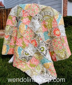 """Secret Garden"" medium kids-size rag quilt in paisleys and florals in cream, pink, red, sage, aqua and tan"