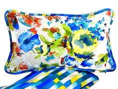 Floral garden throw pillow cover 12x20  Blue stripe by SABDECO
