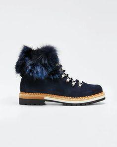 Montelliana 1965 Aurora Suede Boots with Fox Fur Trim Shoe Boutique, Fox Fur, Fur Trim, Suede Boots, World Of Fashion, Luxury Branding, Aurora, Hiking Boots, Luxury Fashion