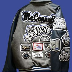 This is a hall-of-fame letterman jacket package deal that lets the customer create a truly one of a kind jacket at a single price. Letterman Jacket Patches, Custom Letterman Jacket, Varsity Letterman Jackets, Denim Jacket Patches, Jacket Buttons, Patch Design, Chor, Types Of Sleeves, Package Deal