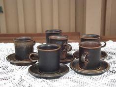 Six Vintage Ruska Arabia Finland Mocca Coffee Cups by Deccorista Coffee Cups, Coffee Maker, Mocca, Finland, Tea Pots, Scandinavian, Mid Century, Pottery, Vase