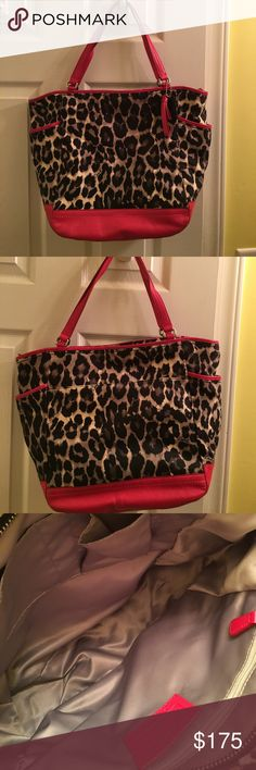 Coach Red Leather Cheetah Purse Gently used authentic coach bag! Coach Bags Shoulder Bags
