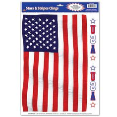 American Flag Window Cling - This American Flag Window Cling will stick to any flat, nonporous surface such as windows or mirrors, no adhesive needed, easy installation, removable and reusable. Flag Cling is approximately 8 high x 13 wide. Made in the U.S.A.