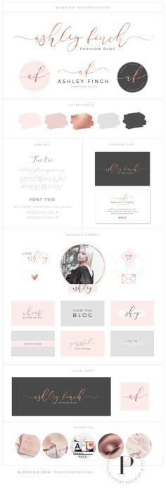 Rose gold logo design and branding package ♡