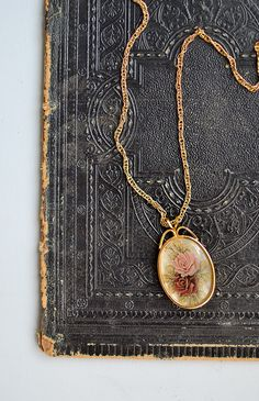 vintage 1980s pink roses pendant necklace from Adored Vintage