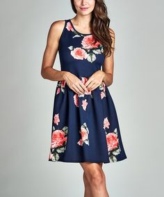 Another great find on #zulily! Navy & Coral Floral Sleeveless Dress #zulilyfinds
