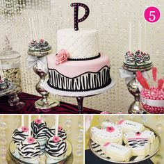 pink-zebra-baby-shower  I love how feminine the top cake w initial are!! Very pretty!!--Misty
