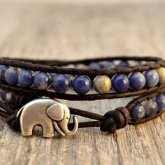 Blue beaded wrap bracelet. Bohemian chic jewelry. Blue leather double wrap bracelet -Made to order-