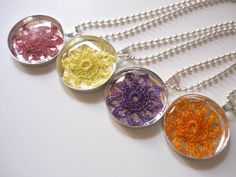 crochet flower pendants
