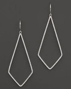 Diamond Geometric Open Drop Earrings in 14K White Gold, .55 ct. t.w.