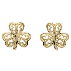 These darling gold shamrock stud earrings are the perfect combination of delicate charm and Celtic tradition. The fine ornamental filigree scrollwork is framed by the soft and rounded edges of each shamrock leaf.