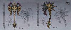 ArtStation - Warhammer Online(2009), ji zhang Anime Weapons, Fantasy Weapons, Warhammer Fantasy, Warhammer 40k, Warhammer Online, Fb Games, Dragon Pictures, Weapon Concept Art, Dark Elf