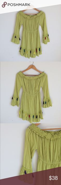 Boutique Off-The-Shoulder Pom Pom Dress Beautiful!!! Off Shoulder Pom Pom Green Dress perfect for summer. Size: Small. 100% Rayon. Machine wash cold. Made in India.                  Feel free to ask me any questions. Reasonable offers are considered. No traded, or modeling. Happy Poshing!! Hint of Blush Dresses