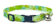 Cat Collar  Retro Flowers on Green by PawsnTails on Etsy, $11.00
