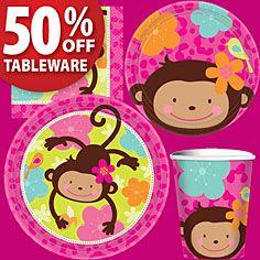 Monkey Love Party Supplies- Girls 1st Birthday- 1st Birthday- Birthday Parties-Party America
