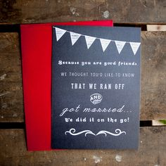 Wedding Announcement Postcards Chalkboard Style Tied The Knot Courthouse Eloped