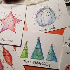 Painted Christmas Cards, Watercolor Christmas Cards, Christmas Card Crafts, Homemade Christmas Cards, Christmas Drawing, Watercolor Cards, Xmas Cards, Christmas Art, Diy Cards