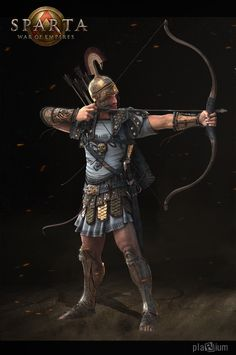 Heavy Archer (Sparta: War of Empires); Possibly Cretan. Best illustration of what the finest archers in the Aegean Greek world looked like. They, unlike other archers, wore armour and carried a blade. Empire Characters, Archer Characters, Fantasy Characters, Apollo Tattoo, Greek Soldier, Character Art, Character Design, Greek Warrior, Age Of Empires