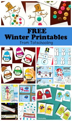 FREE Winter printables for toddlers, preschool and kindergarten. Large collection of activities featuring math, literacy, playdough mats, tracing, packs, matching, puzzles and more!