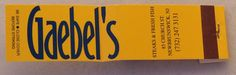 Gaebel's #matchbook - New Brunswick, NJ - - To Order Your Business' own branded #Matchbooks and #Matchboxes call 800.605.7331 or GoTo: www.GetMatches.com. Today!