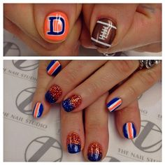 Denver Broncos by tee__ohh Nail Polish Designs, Nail Designs, Broncos Nails, Football Nail Art, Nail Candy, Great Nails, Fancy Nails, Holiday Nails, Manicure And Pedicure