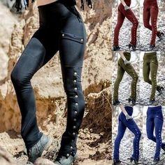 Slim Women Trousers Pants Waist High Casual Summer Fit Warm Solid Leggings W Slim Pants, Trouser Pants, Trousers Women, Skinny Pants, Pants For Women, Long Pants, Steampunk Pants, Gothic Steampunk, Gothic Leggings