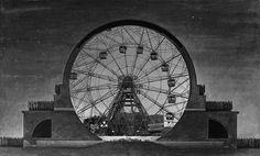 OXYMORON #07 Etienne-Louis Boullée, Cenotaphe for Isaac Newton (1784)+Wonder Wheel, Eccentric Ferris Wheel Company(1920)image by Traumnovelle