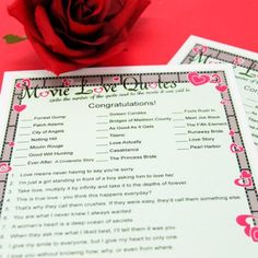 Personalized Movie Love Quotes Game, bridal shower game?