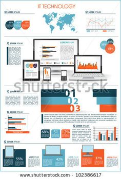 stock vector : Modern infographics set and icons IT tehnology. World Map and Information Graphics