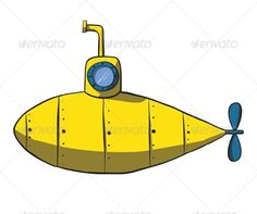 Cartoon Yellow Submarine - Man-made Objects Objects
