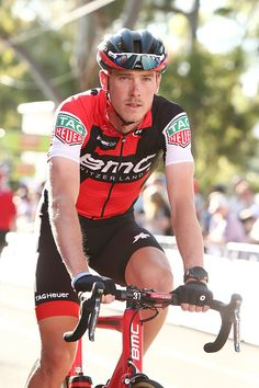 Australian cyclist Rohan Dennis of the BMC Racing team prepares for the start of the People's Choice Classic street race a preview race to the 2017...