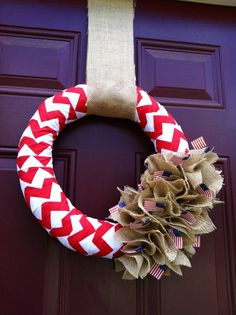 July 4th Chevron and Burlap Wreath from Bopsidoodle!