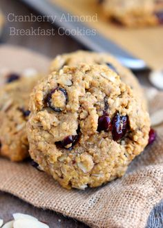 Cranberry Almond Breakfast Cookies are the perfect grab-and-go breakfast for busy mornings! Healthy and delicious, it's the perfect excuse to eat dessert for breakfast!