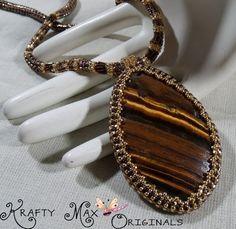 Brown Tigereye Beauty Handmade Beadwoven Necklace Krafty Max Original