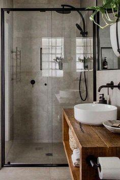 ideas for bathroom shower tile design doors Wood Bathroom, Bathroom Renos, Bathroom Flooring, Bathroom Inspo, Industrial Bathroom, Bathroom Renovations, Bathroom Storage, Small Bathroom Ideas, Small Bathroom Inspiration