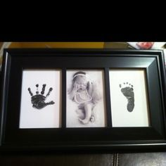 Handprint, foot print, and baby picture.. cute!