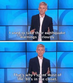 Ellen DeGeneres / funny quote / spending time in the closet in the Ellen Degeneres Quotes, Ellen Degeneres Show, Portia Degeneres, Funny Picture Quotes, Funny Pictures, Funny Pics, Funny Images, Ellen Quotes, Ellen And Portia